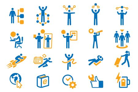 Life management work by yourself icon set.