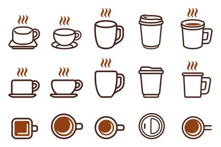 Various Views Of Hot Coffee Cup icon.