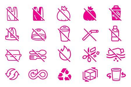 Refrain from using plastic bags. Correct plastic resource management. Ilustração