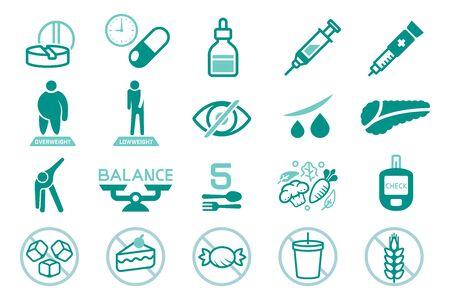 Basic Diabetes-Mellitus treatment and protection. Illustration