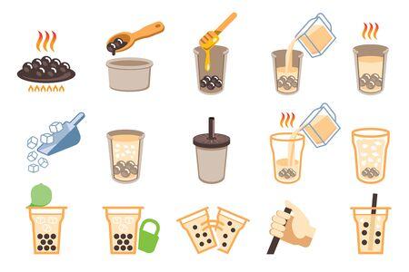 Cooking Boba milk tea step. Ilustração