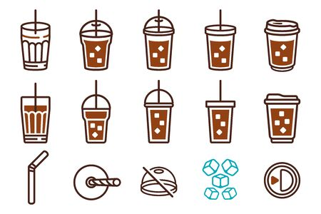 Iced Coffee Plastic Glass and Straw tube. icon set