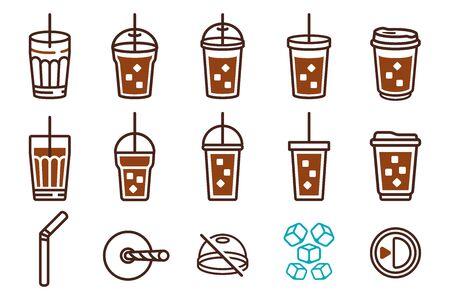 Vaso de plástico de café helado y tubo de paja. conjunto de iconos
