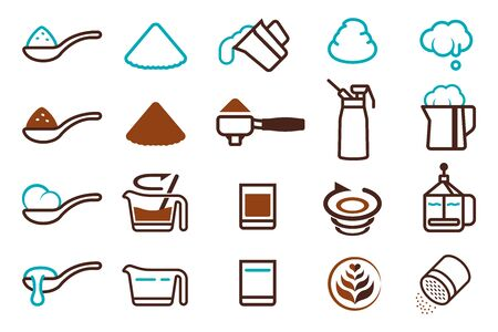 Basic equipment and ingredients for making coffee recipes.
