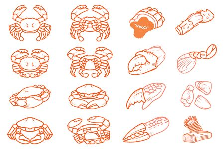 Crab meat and parts symbol for cooking in kitchen of chef. Seafood ingredient.