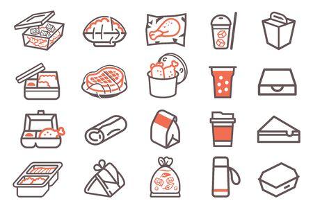 Food package delivery. Pack a menu for small transport. Ilustração