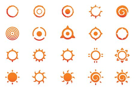 Set of sun abstract symbol style. Ilustração