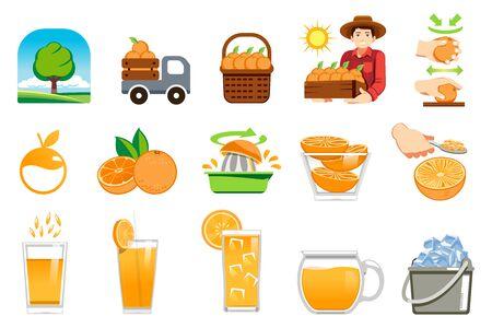 Pomarańczowy produkt rolny. Świeży sok dla klienta zdrowego stylu życia.