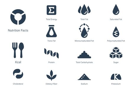 Nutrition facts icon in Glyph style. Symbols of common nutrients food products.