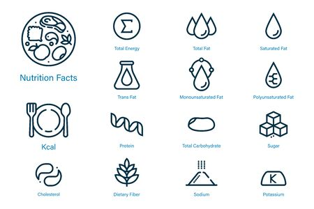 Icona dei dati nutrizionali in stile contorno adatta per l'etichetta di prodotti e contenuti moderni. Simboli di prodotti alimentari nutrienti comuni. Vettoriali