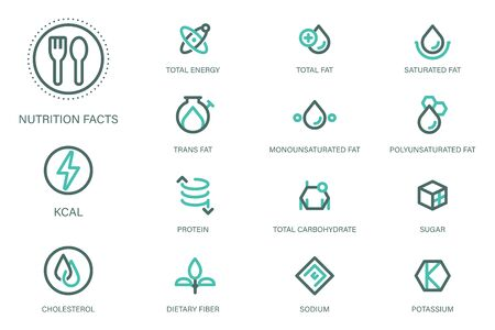 Nutrition facts icon in outline style suitable for label modern product and Food science & Research content. Symbols of common nutrients food products.