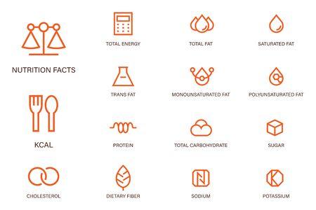 Les faits de nutrition décrivent le style moderne de coin pointu d'icône. Symboles des produits alimentaires nutritifs courants.