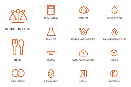 Nutrition facts outline icon modern sharp corner style. Symbols of common nutrients food products.