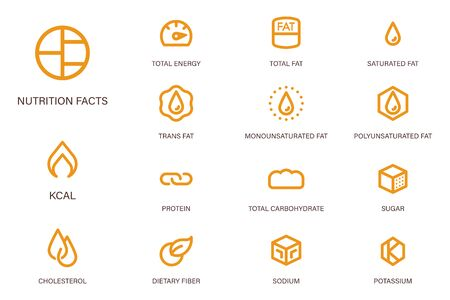 Nutrition facts icon in outline style (Second set) suitable for label modern product and Food science & Research content. Symbols of common nutrients food products. Illustration