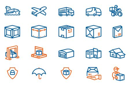 The process Long distance goods delivery to the customers house.shipping logistics icon concept in hexagon outline style. Stock Illustratie
