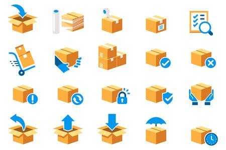 Icono de paso estándar de atención de paquetería del servicio de entrega. Protección de mercancías, seguro y devolución de producto (conjunto de símbolos de color).