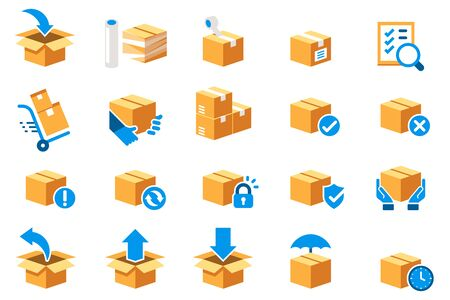Parcel care standard step icon of delivery service. Protection of goods, insurance and return for product (color symbol set).