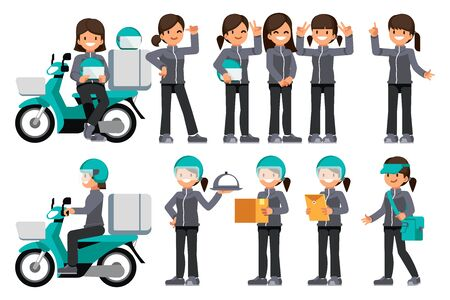 Female delivery staff with motorcycle. Stock Illustratie