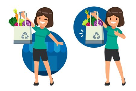 Woman character invited the reduce campaign use of plastic bags from supermarket and use fabric bag for environment.