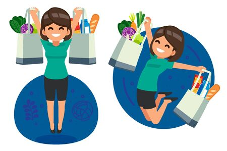 Happy woman jump shopping daily food for supermarket by textile bag. Protect the environment by reducing the use of plastic bags or stop using.