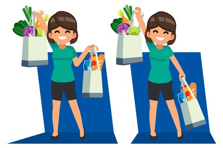 Woman shopping daily food for supermarket by textile bag. Protect the environment by reducing the use of plastic bags or stop using.