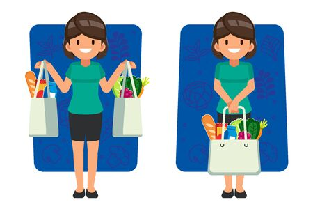 Woman shopping daily food for supermarket by textile bag. Protect the environment by reducing the use of plastic bags.