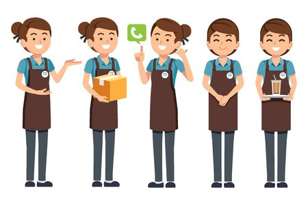 Woman staff shop or cafe character. Employee service have friendly to customer.