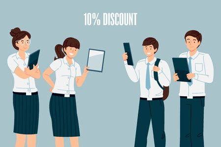 Tablet trading for students with a special discount promotion. Thailand collegian standard uniforms content. Иллюстрация