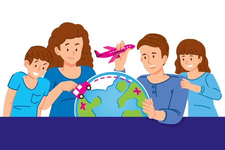 Family planning a holiday trips around the world.