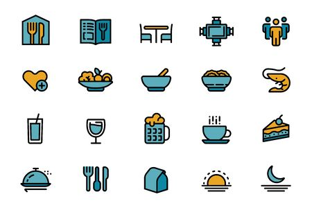 Basic of restaurant management color icon. Food menu and service for customer. Stock Illustratie