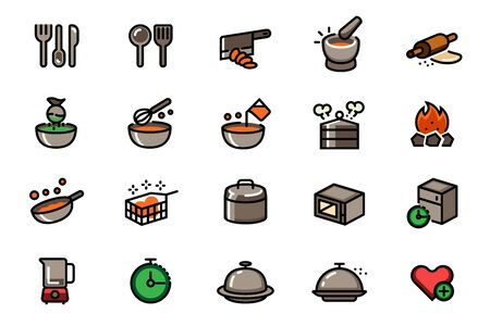 Different cooking with kitchenware in outline color icon style. Stock Illustratie