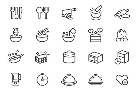 Different cooking with kitchenware in outline icon style.