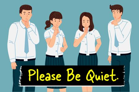 Requesting cooperation in the use of public spaces to be polite and quiet. Thailand collegian standard uniform.