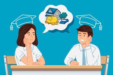 The dream of university students nearing graduation. Planning future life. Illustration