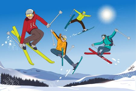 Skiing tour in the mountains. Challenge yourself in the winter with friends. Sport Tourism.
