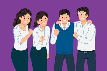 Employee who are still living a fun working life and healthy. Old team have work together to succeed. Stock Illustratie
