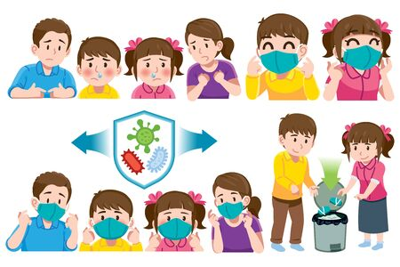 Parent care for children when having fever or sneezing with wear a hygienic mask to reduce the spread of germs. Caring for kids with the right medical methods. Ilustración de vector