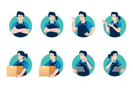 Trader character for service general stores or shop online in half body pose. Illustration
