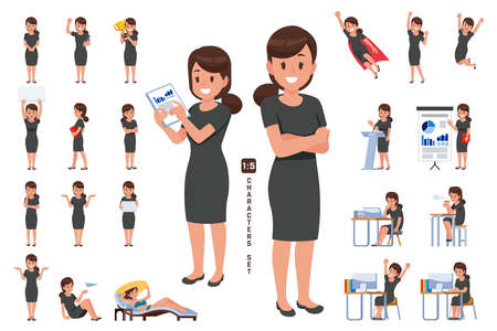 businesswoman character set in five head to body ratio scale. Working and general situation pose of staff.