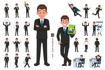 businessman character set in five head to body ratio scale. Working and general situation pose of staff.