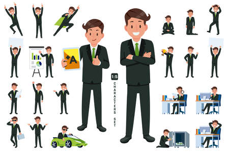 businessman character set 2 in five head to body ratio scale. Working and general situation pose of asian staff.