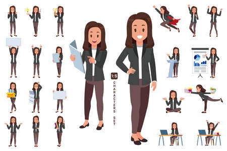 business woman wear suit character collection 2 in five head to body ratio scale. Working and general situation pose of staff. Çizim