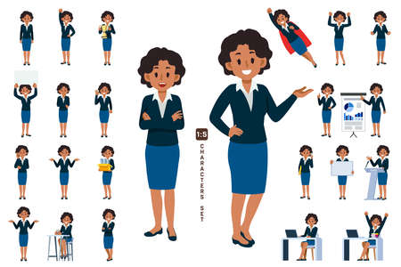 African business woman character set 6 in five head to body ratio scale. Working and general situation pose of staff.