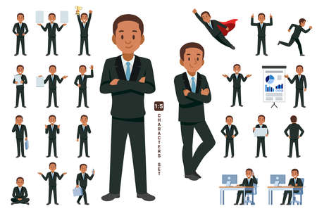 businessman character set 5 in five head to body ratio scale. Working and general situation pose of African staff. Çizim