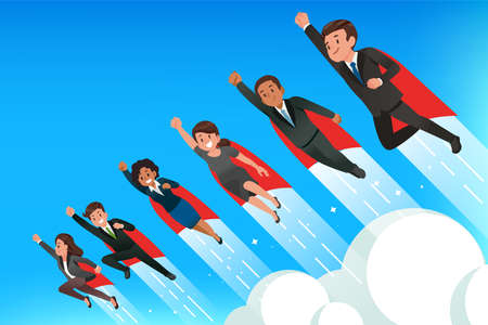 Superhero teamwork people concept. Power and performance of professional employee to working for company.