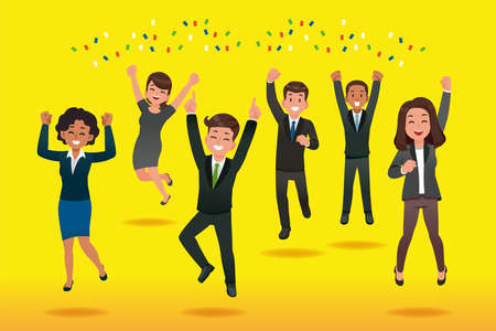 Successful teamwork concept. Giving happiness and rewards to good employees is good company