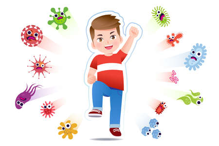 European boy have a immune to certain bacteria and viruses so that they can live a fun, age-appropriate life. Safety in keeping children away from serious diseases. 矢量图像