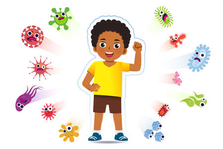 African boy have a immune to certain bacteria and viruses so that they can live a fun, age-appropriate life. Safety in keeping children away from serious diseases. 矢量图像