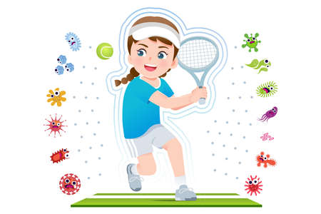 European girl play tennis to good healthy, Away from disease and bacteria that risk their health.