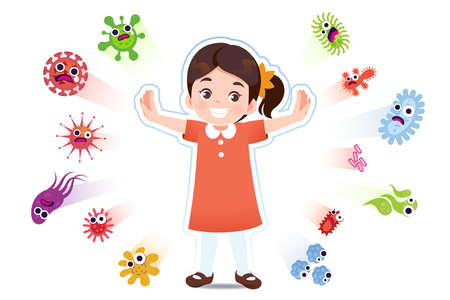 Asian girl have a immune to certain bacteria and viruses so that they can live a fun, age-appropriate life. Safety in keeping children away from serious diseases.